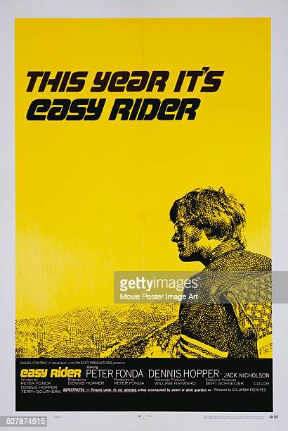 A poster for Dennis Hopper's 1969 drama 'Easy Rider' starring Peter Fonda