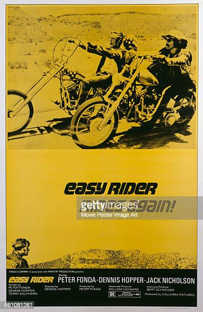 A poster for Dennis Hopper's 1969 drama 'Easy Rider' starring Peter Fonda and Dennis Hopper