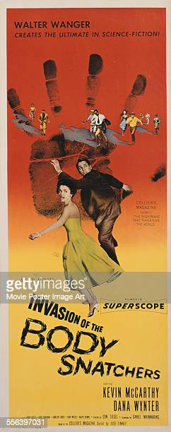 A poster for Don Siegel's 1956 horror film 'Invasion of the Body Snatchers' starring Kevin McCarthy and Dana Wynter