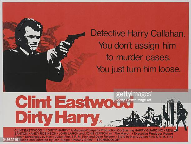 A poster for Don Siegel's 1971 crime film 'Dirty Harry' starring Clint Eastwood