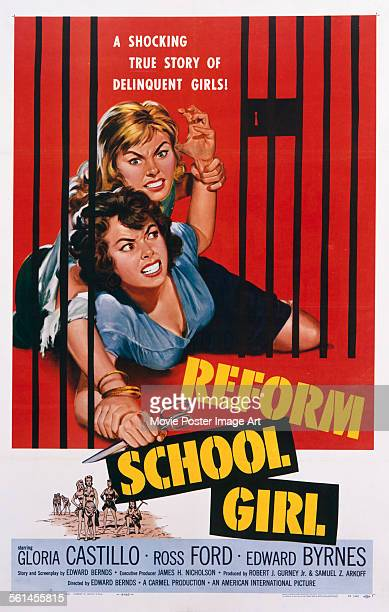 A poster for Edward Bernds' 1957 crime film 'Reform School Girl' starring Gloria Castillo and Luana Anders