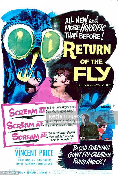 A poster for Edward Bernds' 1959 horror sequel 'Return Of The Fly' starring Vincent Price