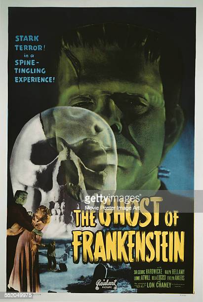 A poster for Erle C Kenton's 1942 horror film 'The Ghost of Frankenstein' starring Lon Chaney Jr