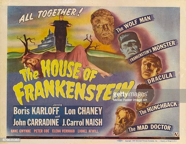 A poster for Erle C Kenton's 1944 horror film 'House of Frankenstein' starring Boris Karloff Lon Chaney Jr as The Wolf Man Glenn Strange as...