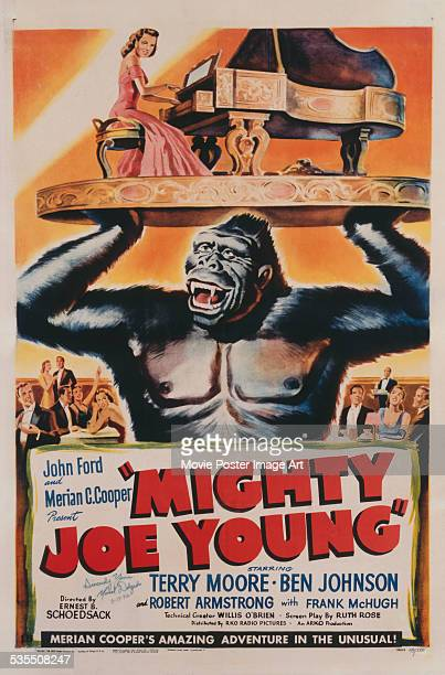 A poster for Ernest B Schoedsack's 1949 adventure film 'Mighty Joe Young' starring Terry Moore