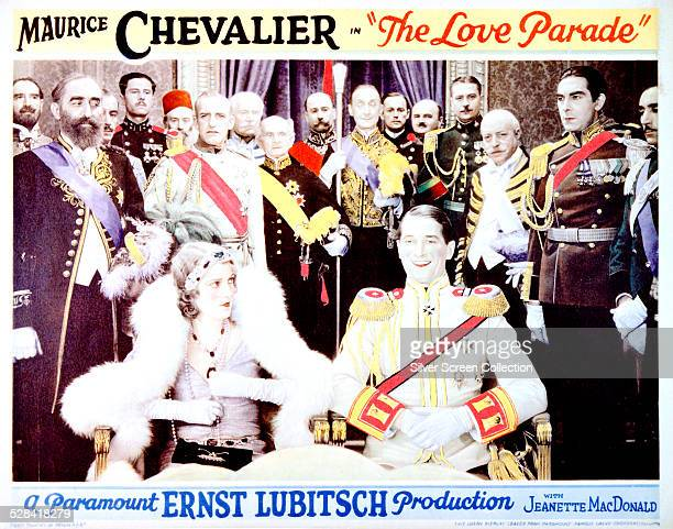 A poster for Ernst Lubitsch's 1929 musical comedy 'The Love Parade' starring Maurice Chevalier and Jeanette MacDonald