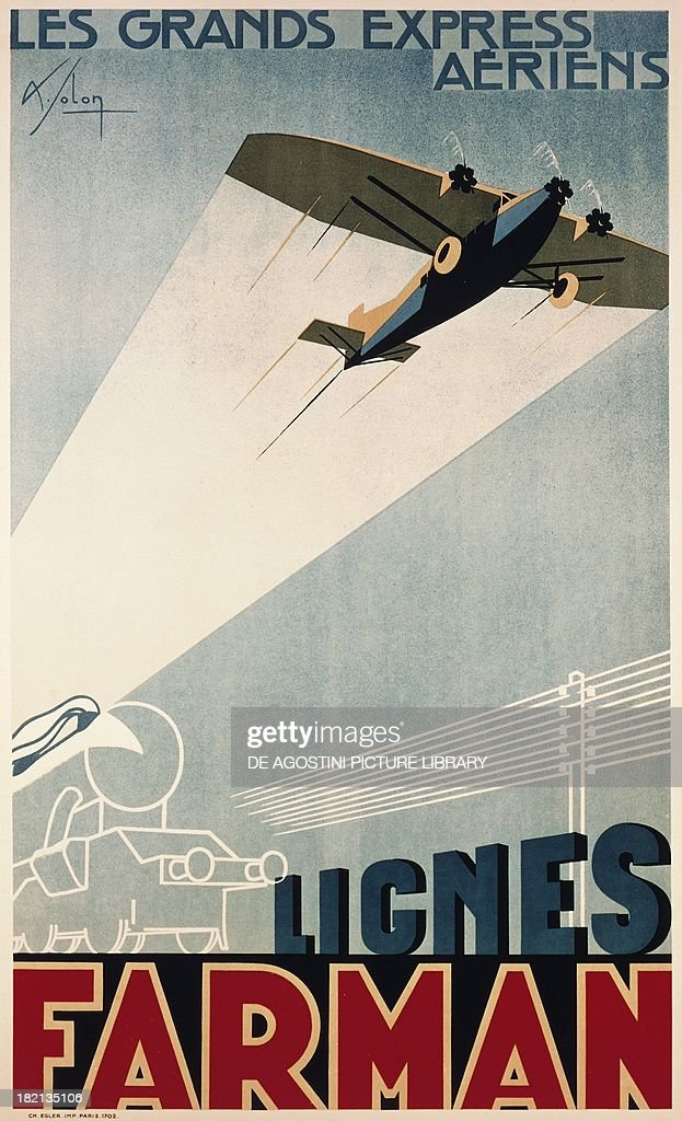 Poster for Farman Airlines (Societe Generale des Transports Aeriens or SGTA), 1930, France, 20th century. Parigi, Musee Air France