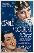 A poster for Frank Capra's 1934 comedy 'It Happened One Night' starring Clark Gable and Claudette Colbert