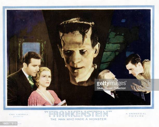 A poster for 'Frankenstein' directed by James Whale 1931 Left to right John Boles as Victor Moritz Mae Clarke as Elizabeth Boris Karloff as the...