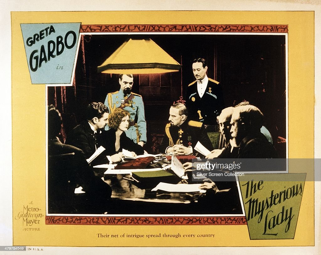 A poster for Fred Niblo's 1928 silent drama 'The Mysterious Lady' starring Greta Garbo as Tania Fedorova The poster also features Gustav von...