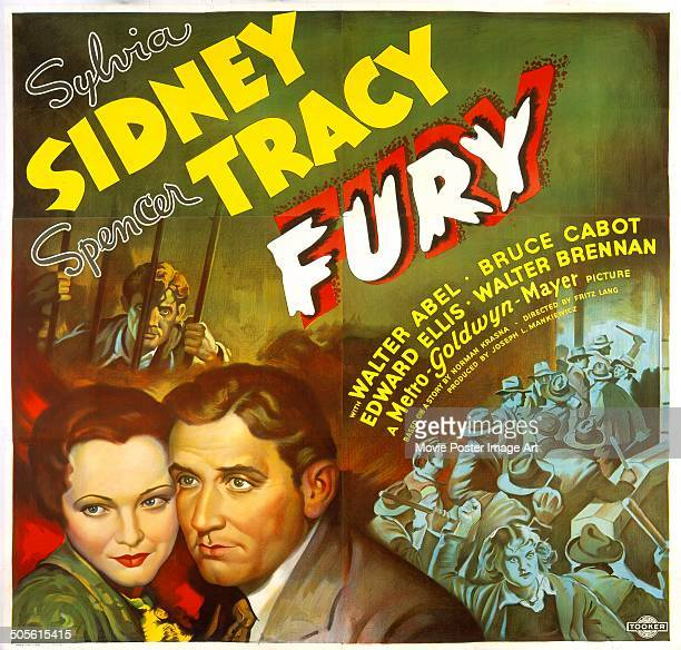 A poster for Fritz Lang's 1936 crime drama 'Fury' starring Sylvia Sidney and Spencer Tracy