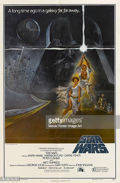 A poster for George Lucas' 1977 fantasy film 'Star Wars' starring Mark Hamill and Carrie Fisher