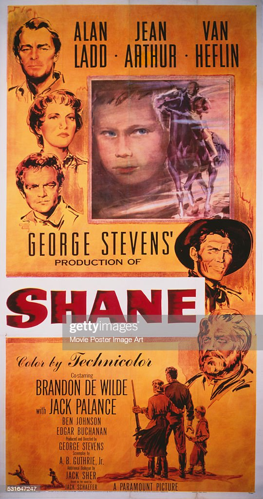 A poster for George Stevens' 1953 drama 'Shane' starring Alan Ladd