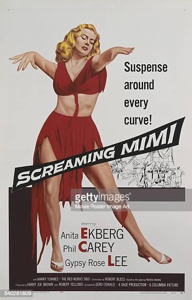 A poster for Gerd Oswald's 1958 film noir 'Screaming Mimi' starring Anita Ekberg