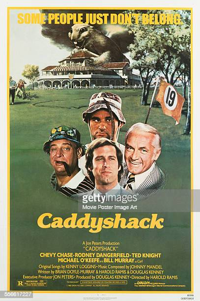 A poster for Harold Ramis' 1980 comedy 'Caddyshack' starring Chevy Chase Rodney Dangerfield Bill Murray and Ted Knight