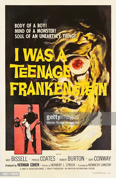 A poster for Herbert L Strock's 1957 horror film 'I Was a Teenage Frankenstein' starring Gary Conway