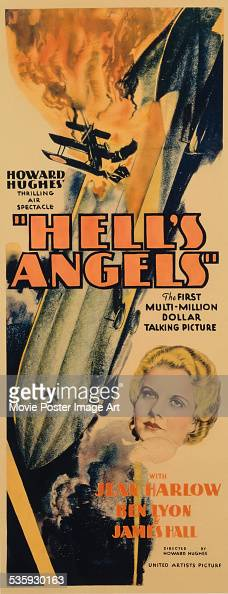 A poster for Howard Hughes' 1930 drama 'Hell's Angels' starring Jean Harlow