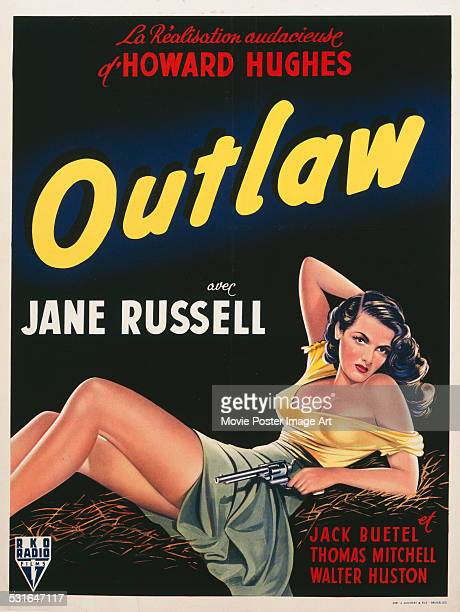 A poster for Howard Hughes' 1943 comedy 'The Outlaw' starring Jane Russell