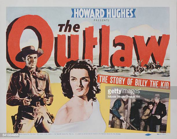 A poster for Howard Hughes' 1943 western 'The Outlaw' starring Jack Buetel and Jane Russell Inset is a still featuring Thomas Mitchell Jack Buetel...