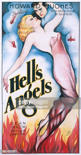 A poster for Howard Hughes and Edmund Goulding's 1930 drama 'Hell's Angels' starring Jean Harlow
