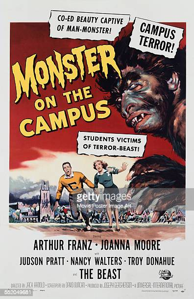 A poster for Jack Arnold's 1958 horror film 'Monster on the Campus' starring Arthur Franz and Joanna Moore