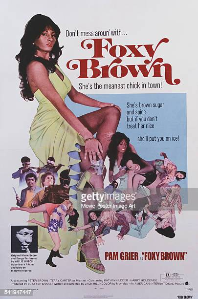 A poster for Jack Hill's 1974 action film 'Foxy Brown' starring Pam Grier