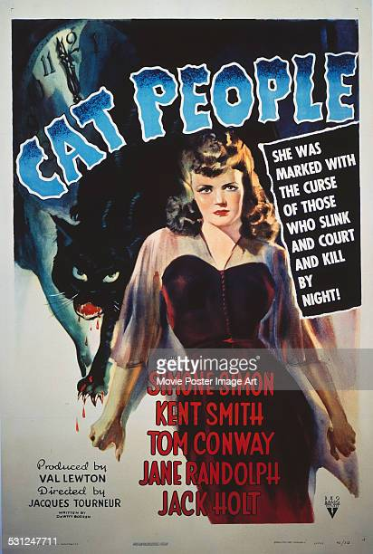 A poster for Jacques Tourneur's 1942 horror 'Cat People' starring Simone Simon