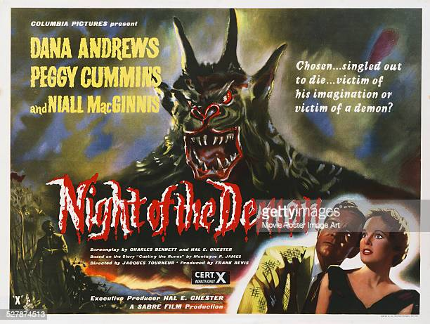 A poster for Jacques Tourneur's 1957 horror 'Night of the Demon' starring Dana Andrews and Peggy Cummins