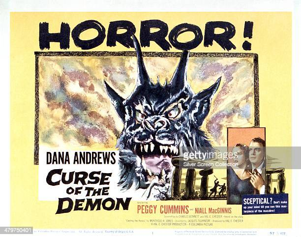 A US poster for Jacques Tourneur's horror film 'Curse Of The Demon' starring Dana Andrews and Peggy Cummins 1957