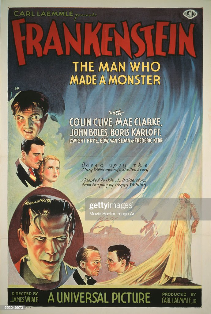 A poster for James Whale's 1931 horror film 'Frankenstein' starring <a gi-track='captionPersonalityLinkClicked' href=/galleries/search?phrase=Colin+Clive&family=editorial&specificpeople=1641810 ng-click='$event.stopPropagation()'>Colin Clive</a>, Mae Clarke, <a gi-track='captionPersonalityLinkClicked' href=/galleries/search?phrase=Boris+Karloff&family=editorial&specificpeople=90442 ng-click='$event.stopPropagation()'>Boris Karloff</a>, and <a gi-track='captionPersonalityLinkClicked' href=/galleries/search?phrase=John+Boles&family=editorial&specificpeople=240217 ng-click='$event.stopPropagation()'>John Boles</a>.