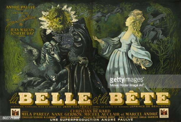 A poster for Jean Cocteau's 1946 romantic fantasy 'Belle et la Bete'