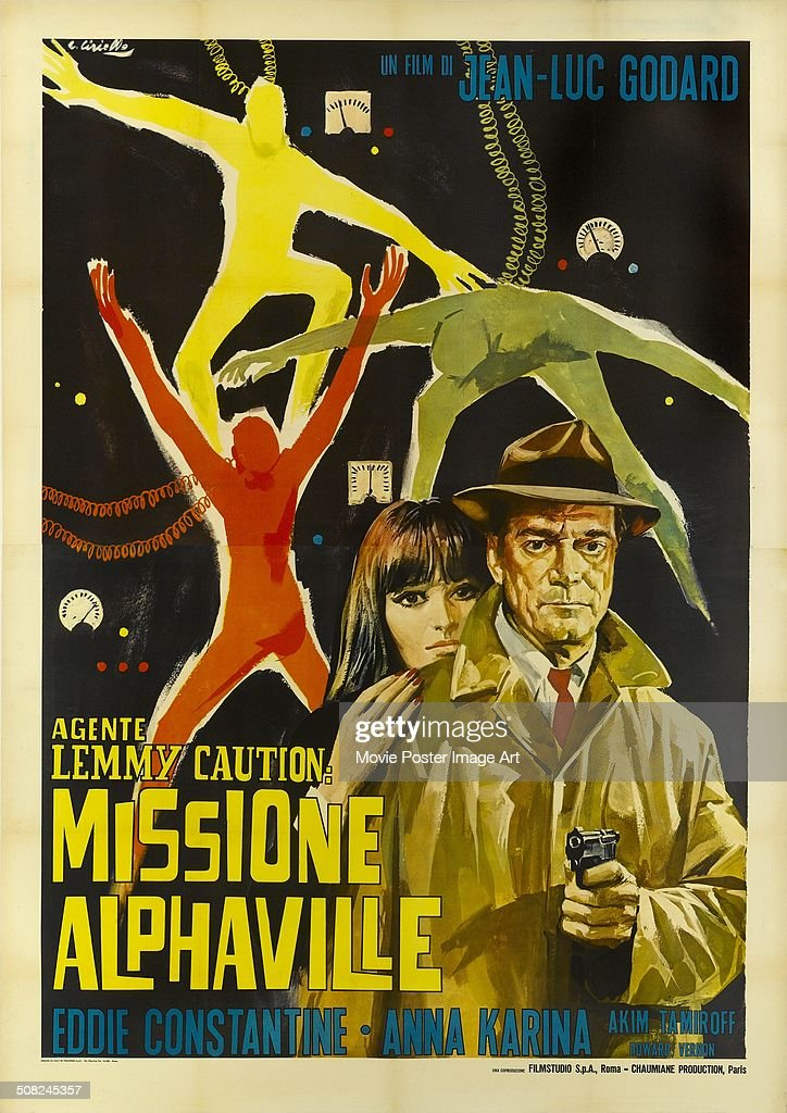 A poster for Jean-Luc Godard's 1965 drama 'Alphaville' starring <a gi-track='captionPersonalityLinkClicked' href=/galleries/search?phrase=Eddie+Constantine&family=editorial&specificpeople=1807756 ng-click='$event.stopPropagation()'>Eddie Constantine</a> and <a gi-track='captionPersonalityLinkClicked' href=/galleries/search?phrase=Anna+Karina&family=editorial&specificpeople=746277 ng-click='$event.stopPropagation()'>Anna Karina</a>.