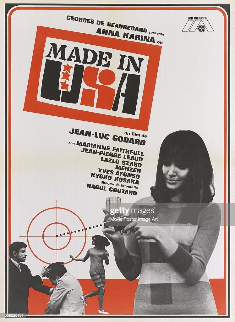 A poster for Jean-Luc Godard's 1966 comedy 'Made in U.S.A' starring <a gi-track='captionPersonalityLinkClicked' href=/galleries/search?phrase=Anna+Karina&family=editorial&specificpeople=746277 ng-click='$event.stopPropagation()'>Anna Karina</a>.