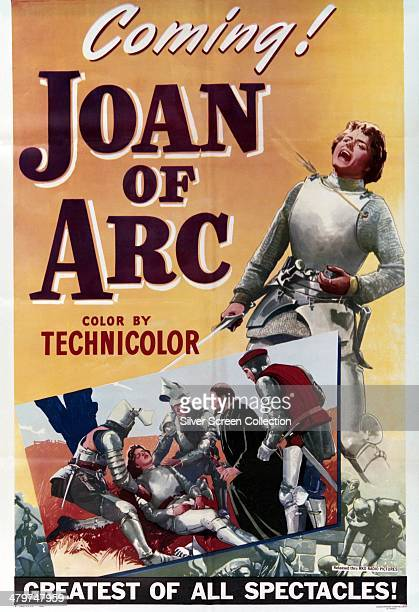 A poster for 'Joan Of Arc' directed by Victor Fleming and starring Ingrid Bergman in the title role 1948