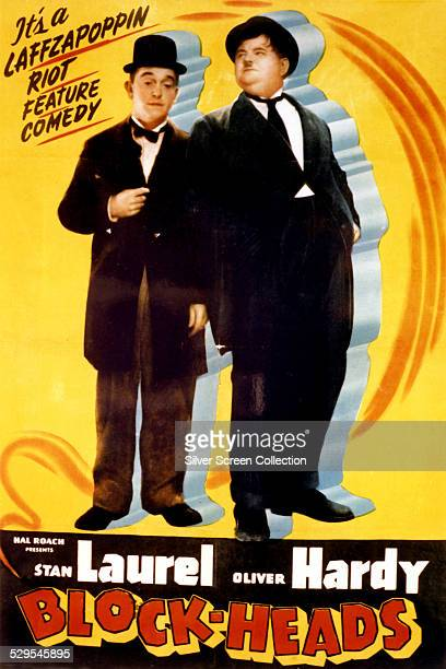 A poster for John G Blystone's 1938 Laurel and Hardy comedy 'BlockHeads'
