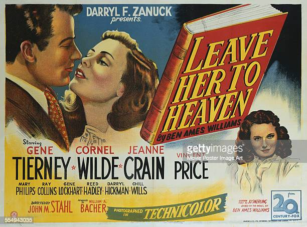 A poster for John M Stahl's 1945 drama 'Leave Her to Heaven' starring Jeanne Crain Gene Tierney and Cornel Wilde