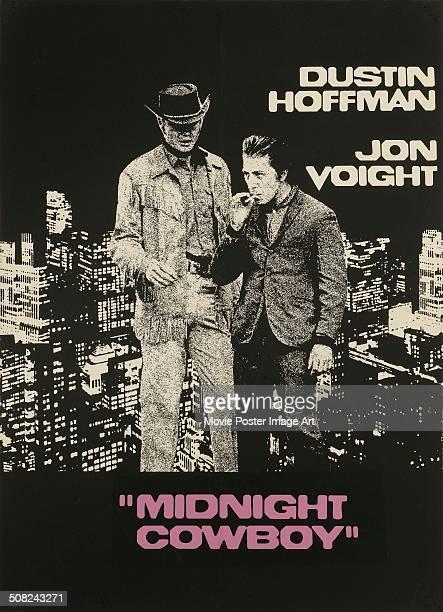 A poster for John Schlesinger's 1969 drama 'Midnight Cowboy' starring Dustin Hoffman and Jon Voight