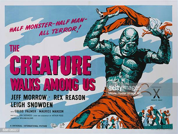 A poster for John Sherwood's 1956 horror film 'The Creature Walks Among Us'