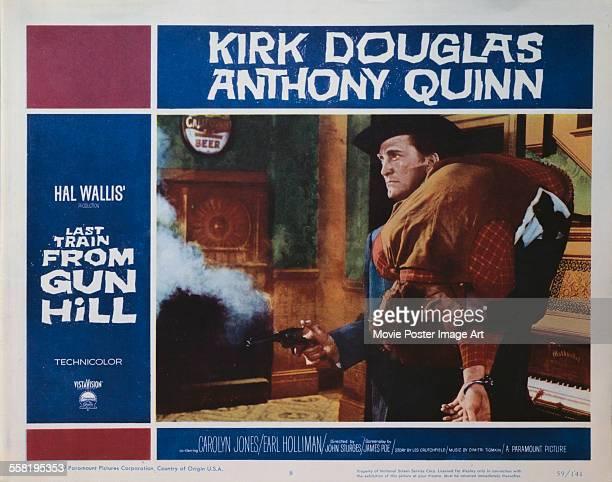 A poster for John Sturges' 1959 romance film 'Last Train from Gun Hill' starring Kirk Douglas