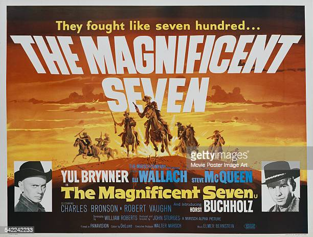 A poster for John Sturges' 1960 action film 'The Magnificent Seven' starring Horst Buchholz and Yul Brynner
