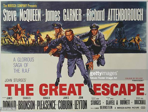 A poster for John Sturges' 1963 drama 'The Great Escape' starring Steve McQueen James Garner and Richard Attenborough