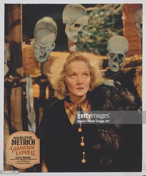 A poster for Josef von Sternberg's 1932 adventure film 'Shanghai Express' starring Marlene Dietrich