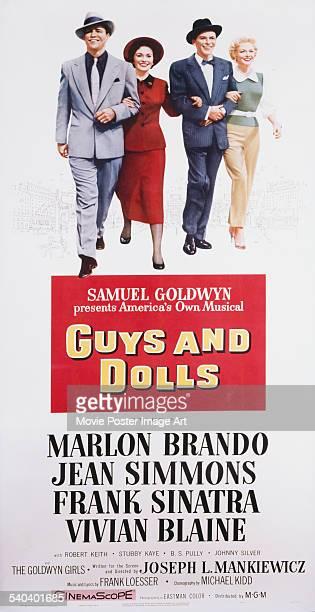 A poster for Joseph L Mankiewicz's 1955 comedy 'Guys and Dolls' starring Marlon Brando Jean Simmons Frank Sinatra and Vivian Blaine