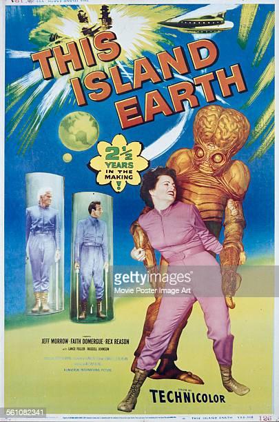 A poster for Joseph M Newman's 1955 horror film 'This Island Earth' starring Faith Domergue