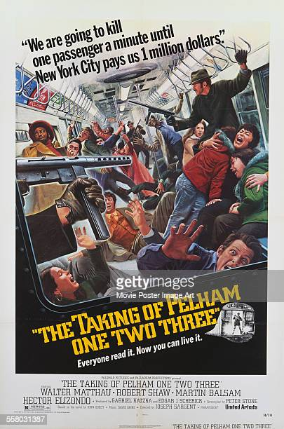 A poster for Joseph Sargent's 1974 action film 'The Taking of Pelham One Two Three'