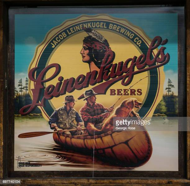 A poster for Leinenkugel's Beer is posted in a window at the Stage Door Casino liquor store on Flamingo Road on May 31 2017 in Las Vegas Nevada...