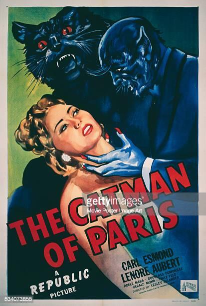 A poster for Lesley Selander's 1946 horror film 'The Catman Of Paris' starring Lenore Aubert and Carl Esmond