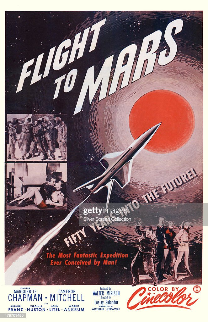 A poster for Lesley Selander's 1951 science fiction film 'Flight To Mars', starring Marguerite Chapman and Cameron Mitchell.