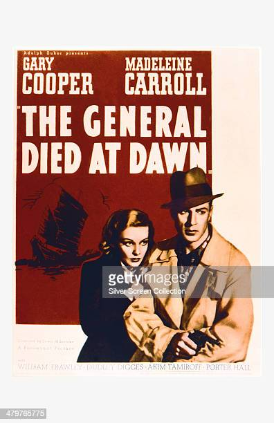 A poster for Lewis Milestone's 1936 thriller 'The General Died At Dawn' starring Gary Cooper and Madeleine Carroll