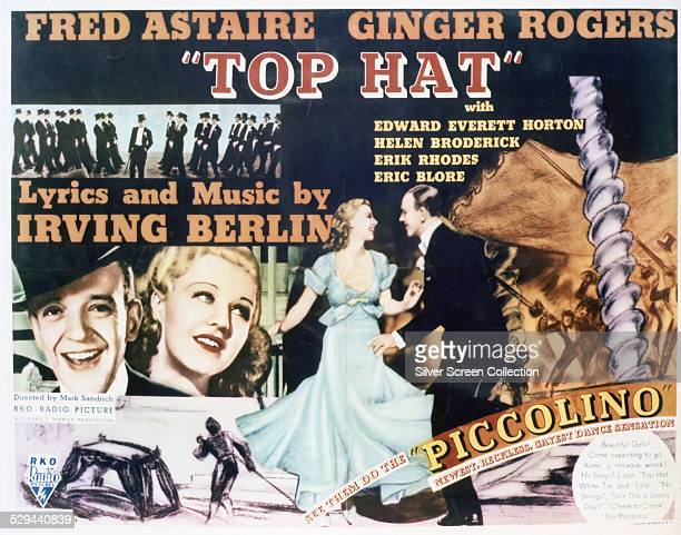 A poster for Mark Sandrich's 1935 musical comedy 'Top Hat' starring Fred Astaire and Ginger Rogers